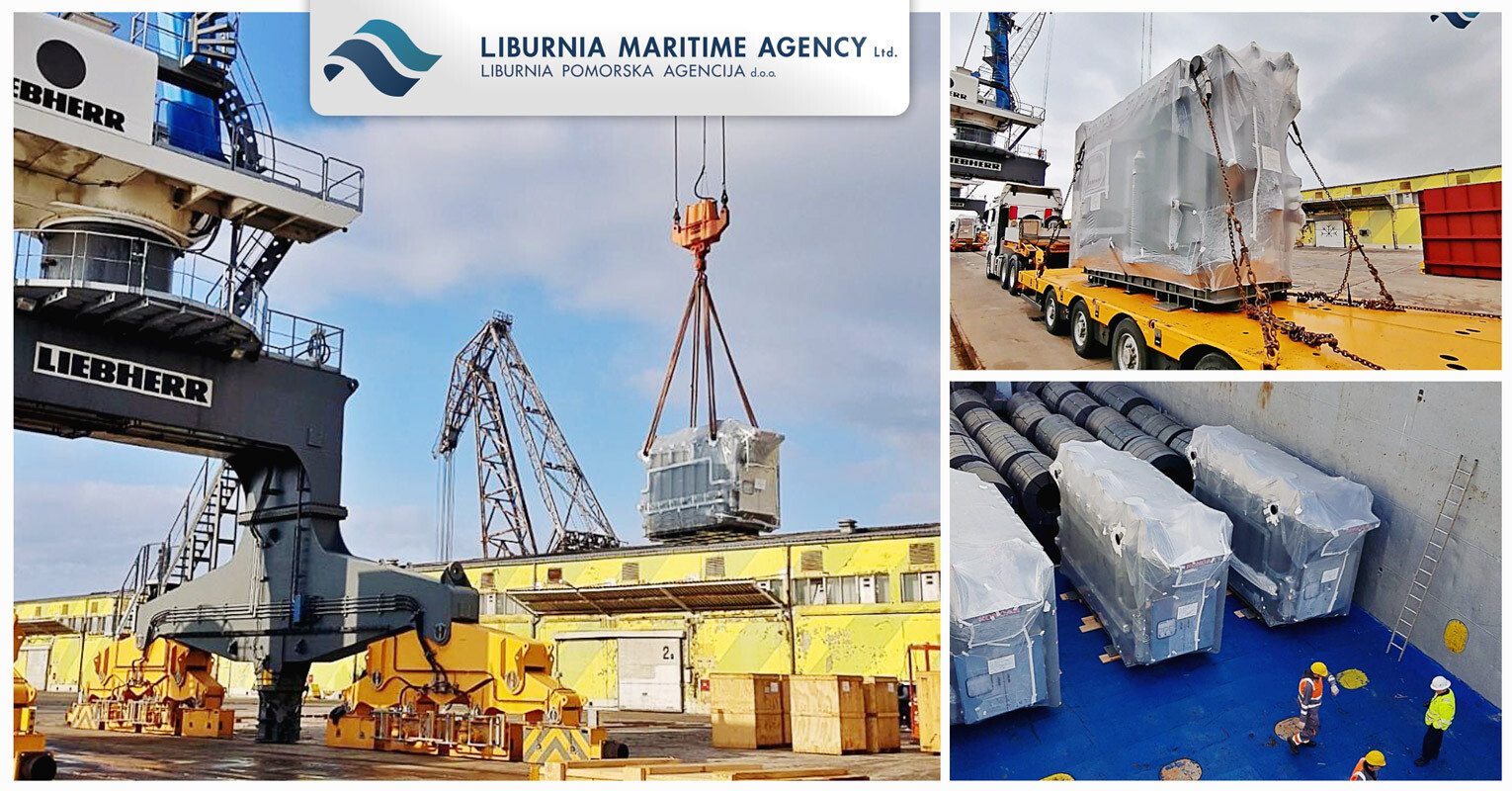 Liburnia Maritime Agency Loaded a 4x55.6 mt Transformers + Components