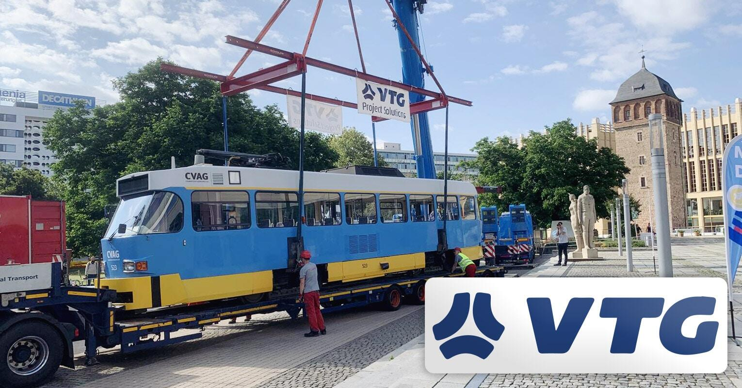 VTG Project Logistics Transported and Positioned Two Tatra Trams in Front of the Chemnitz Town Hall