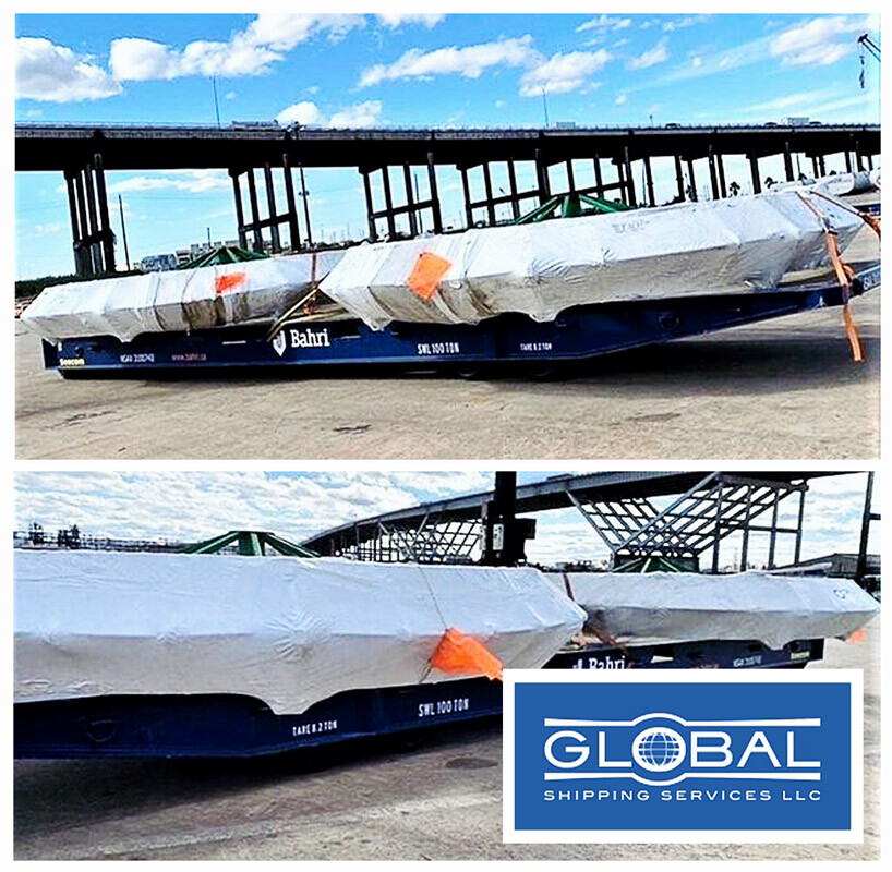 Global Shipping Services Shipped 2 x 22 feet Wide Reels by RORO from Alberta via Houston to Hamad Oman