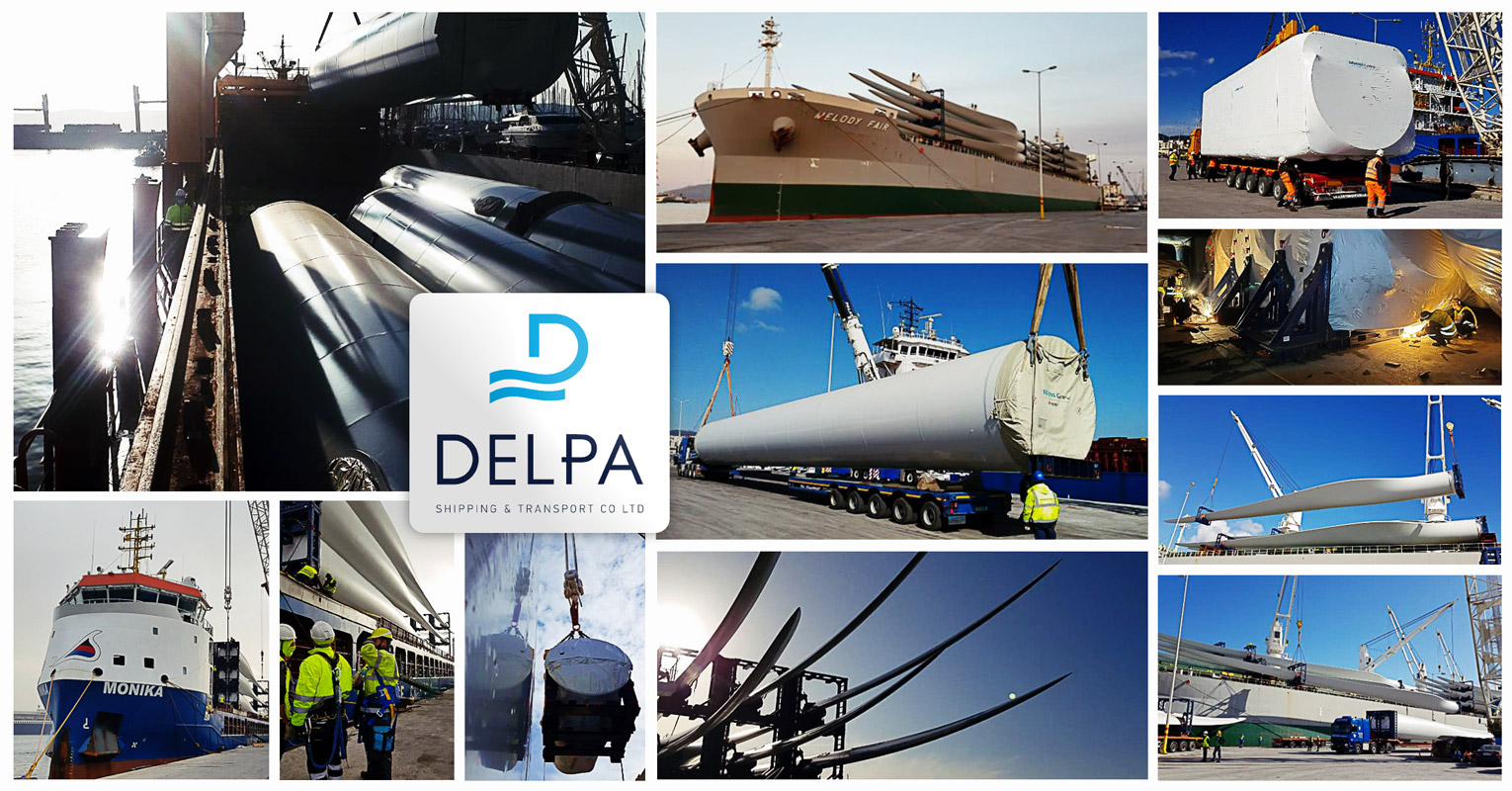Delpa Handled Two Wind Turbine Projects via 7 vessels, Moving 21 WTG Sets with Blades as Long as 72m and Nacelles Weighing up to 101mt