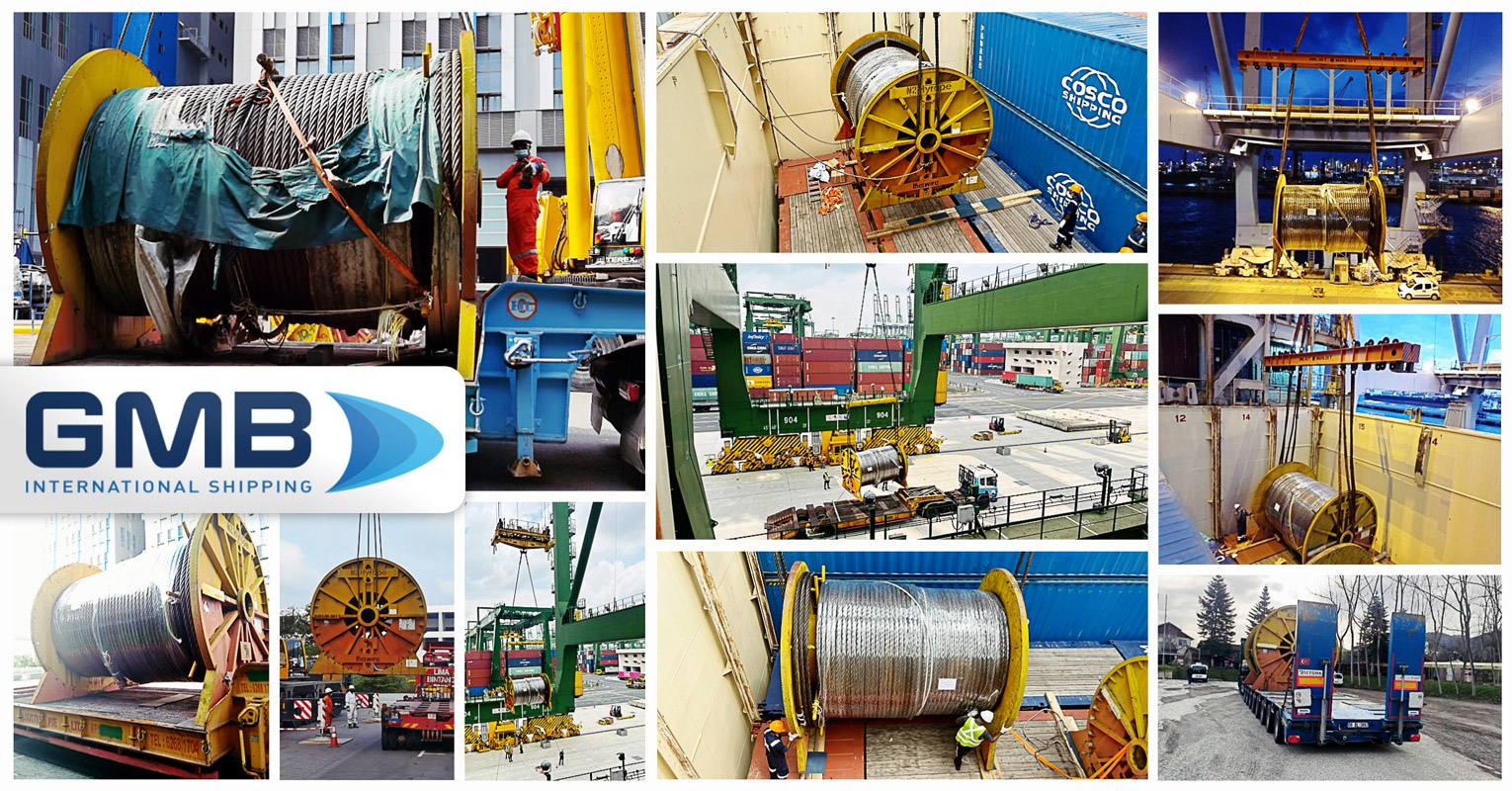 G M B International Shipping Transported 59mt Wire Rope Reels from Singapore to Baku, Azerbaijan