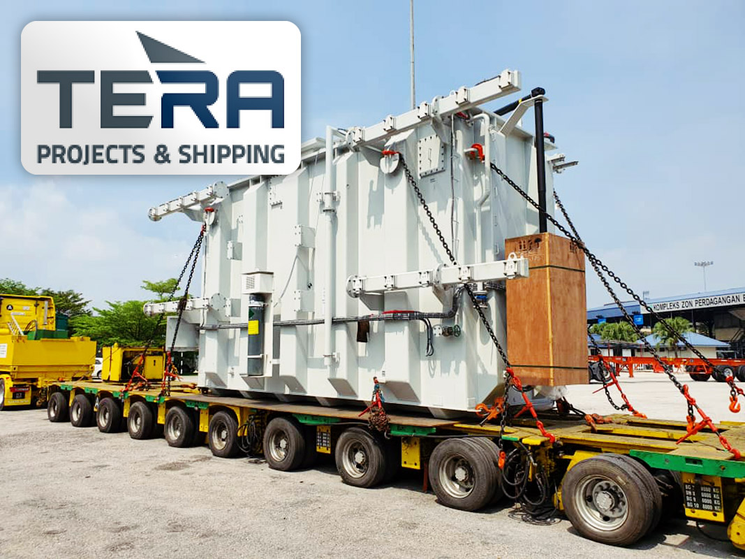 Tera Projects Loaded a 144 ton ABB Transformer at Port Klang with Own Hydraulic Multi-axle Trailer in 13 Axle Configuration