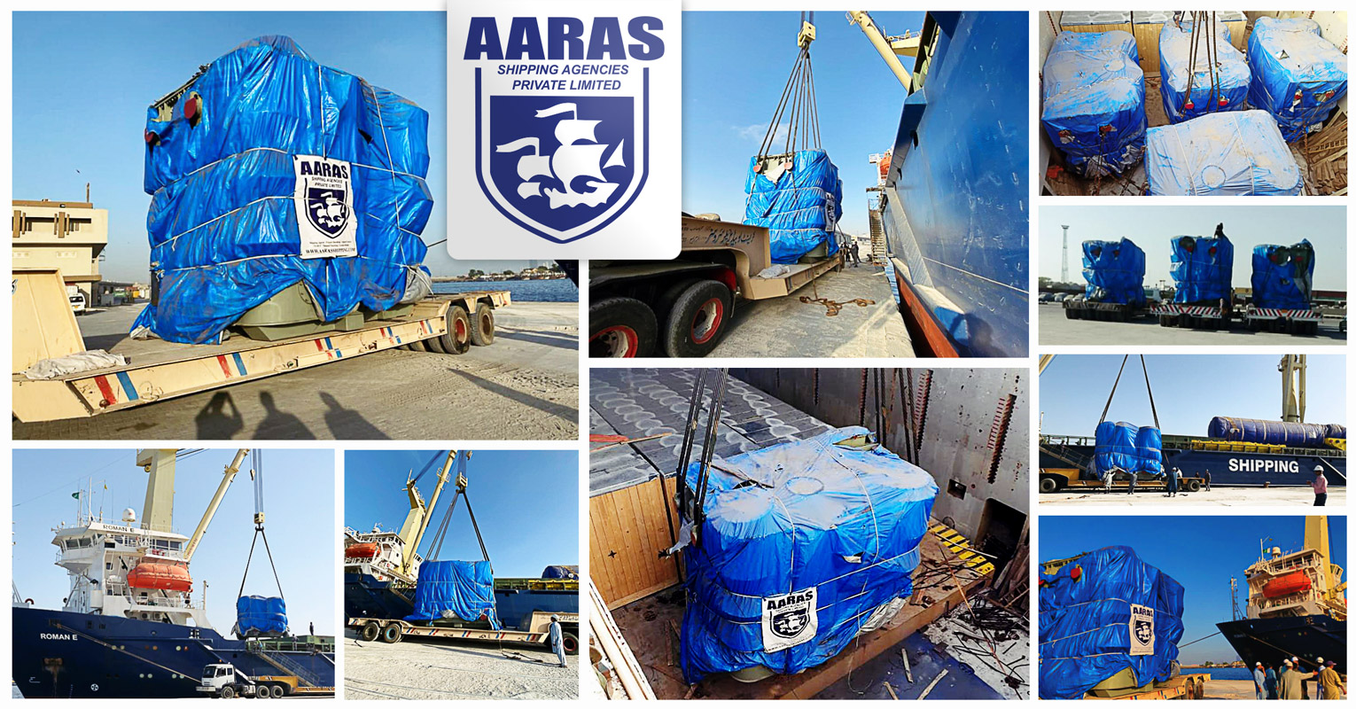 MV ROMAN E Discharged Four Heavy Units of 102 Tons Transformers under AARAS Agency at Karachi Port (West Wharf)
