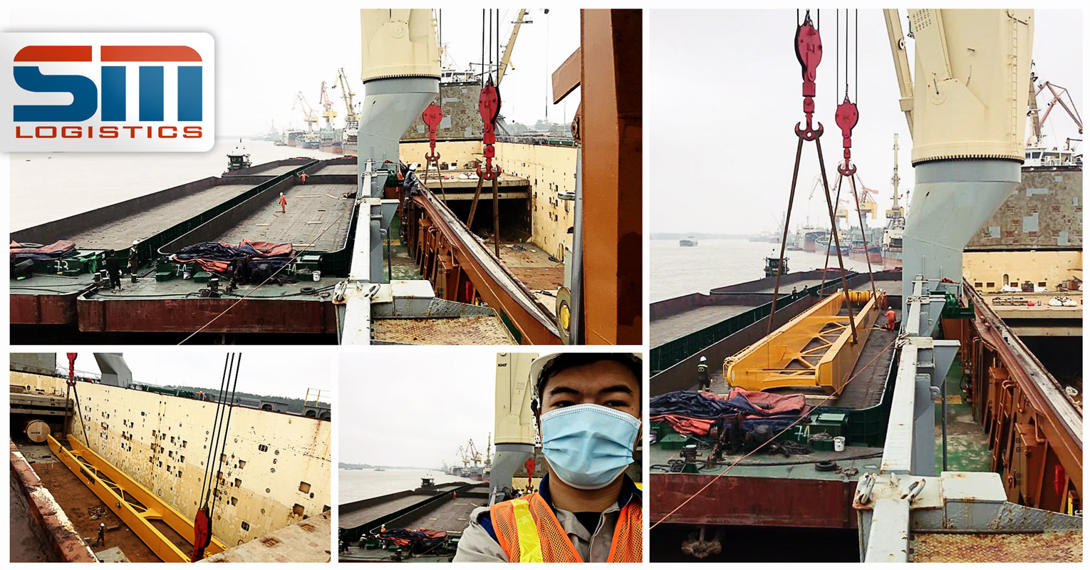 SM Logistics Received a Disassemble Liebherr Crane Under Hook by Barges at Haiphong Port, Vietnam